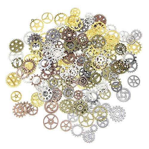 ReFaXi Wholesale Steampunk Set 100g Cyberpunk Jewellery Cogs and Gears Watch Parts DIY (5 Color Mixture) -
