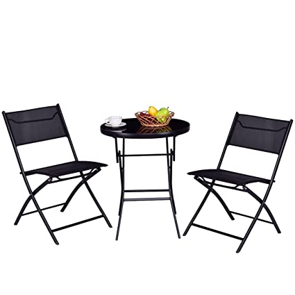 Custpromo 3 Pcs Bistro Set Folding Table And Chair Set Tempered Glass Top  Steel Frame Garden