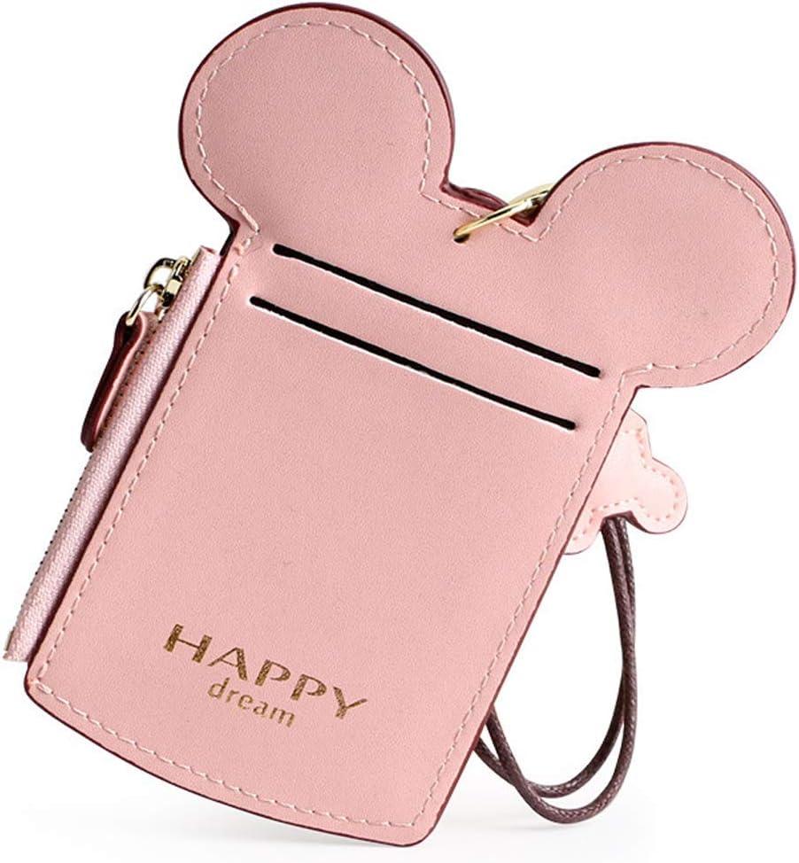 Black Cute Animal Mouse Ear Shape ID Case Neck Pouch Bag Card Holder
