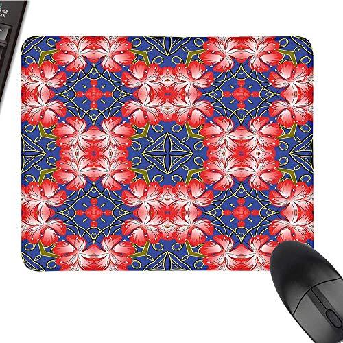 FloralOffice Mouse PadBlooms Pattern on Diamond Shaped Bands Vibrant Flowers Glamour Beauty PrintWaterproof Mice Pad 9.8
