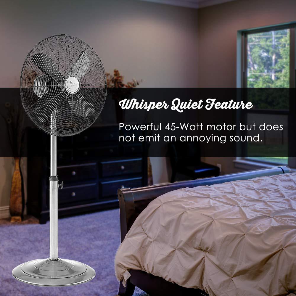 Oscillating Standing Floor Fan   Whisper Quiet Cooling Pedestal Fan,  Adjustable 37 49 Inches Height, ...