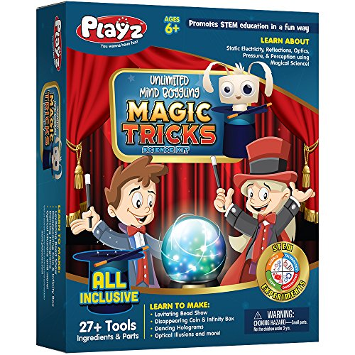 Playz Unlimited Mind Boggling Magic Tricks Science Kit - 27+ Tools to Make Dancing Holograms, Levitating Bead Shows, Disappearing Coin & Infinity Box, Optical Illusions & more for Boys & Girls Ages 6+ ()