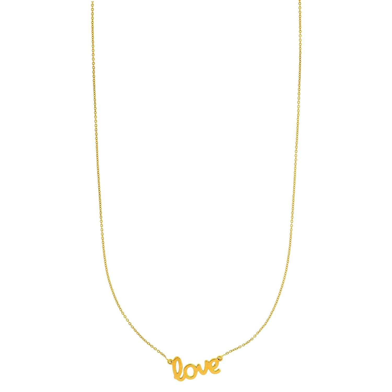 14k Yellow Gold Shiny Flat Scripted Medium love on Round Rolo Chain with Lobster Clasp with Ring