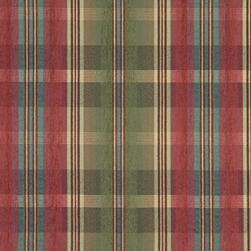 F153 Green Blue Red and Yellow Plaid Chenille Upholstery Grade Fabric by The Yard