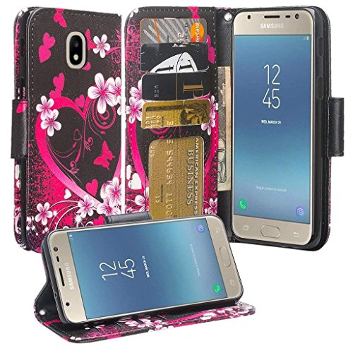 Phonelicious Wallet PU Leather Case For SAMSUNG GALAXY J3 2018 (J337)/J3 ACHIEVE/J3 STAR/EXPRESS PRIME 3 Pouch ID Credit Card Cover Flip Style with Money Slot +Pen (HEART SAKURA)