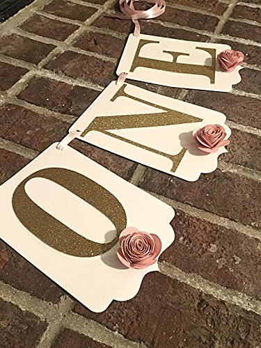 - Highchair banner girl 1st Birthday Part decorations Pink and Gold