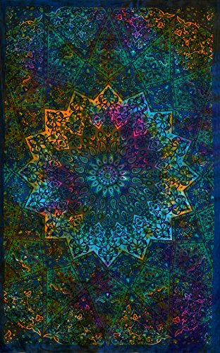 Twin Tie Dye Bohemian Blue Tapestry Star Mandala Elephant Tapestry Wall Hanging Boho Hippie Hippy Tapestry Beach Coverlet Curtain Decore Art