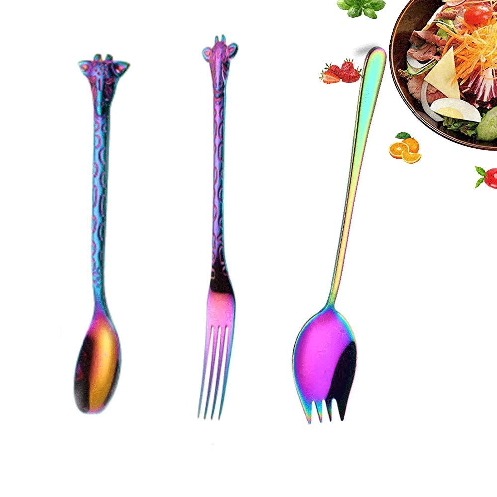 Stirring Spoons 6.5Inch Teaspoons Good 304 Stainless Steel Tea Dessert Spoon Espresso Spoons Bright color Sugar Dessert Cake Spoon,Set of 3 Mixing Spoon Cute Fawn Small Coffee Spoons