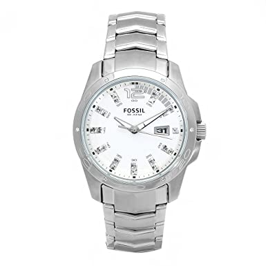 Fossil Mens Quartz Stainless Steel Dress Watch, Color:Silver-Toned (Model: