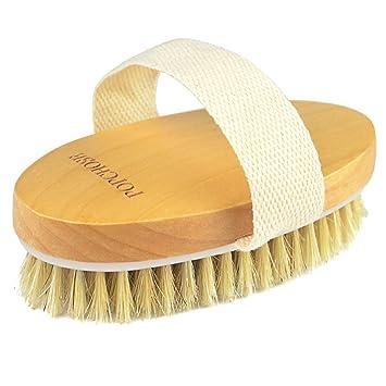Amazon Com Dry Brushing Body Brush Popchose Natural Bristle Dry Skin Exfoliating Brush Body Scrub For Flawless Skin Cellulite Treatment Lymphatic Drainage And Blood Circulation Improvement Medium Strength Beauty