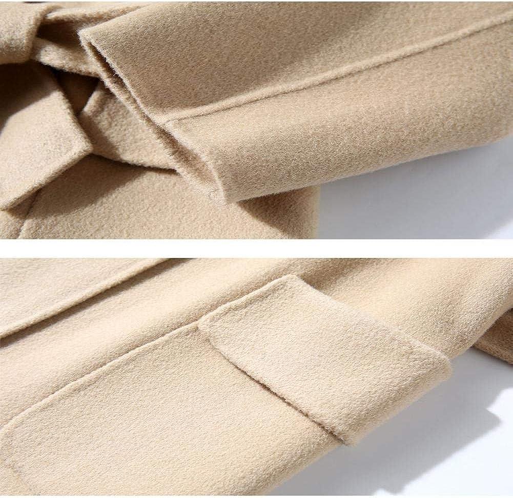WDAYI Manteau à Double Face Femme Automne et Hiver Manteau à Double Face en Cachemire Manteau de Laine pour Femmes Brown