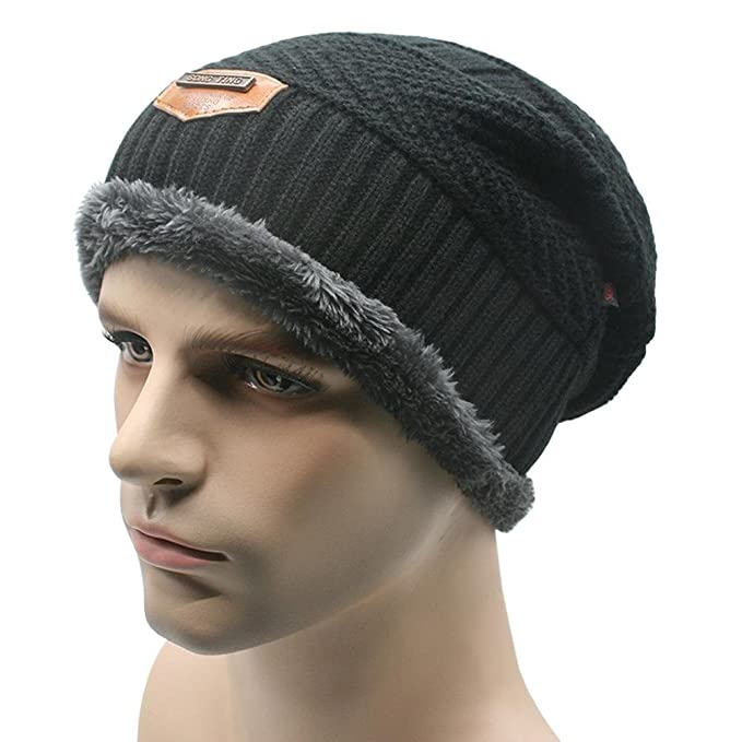 8d6d7e609dc CXW Beanies Knit Men s Winter Hat Caps Skullies Bonnet Winter Hats For Men  Women Beanie Fur Warm Baggy Wool Knitted Hat (black) at Amazon Men s  Clothing ...