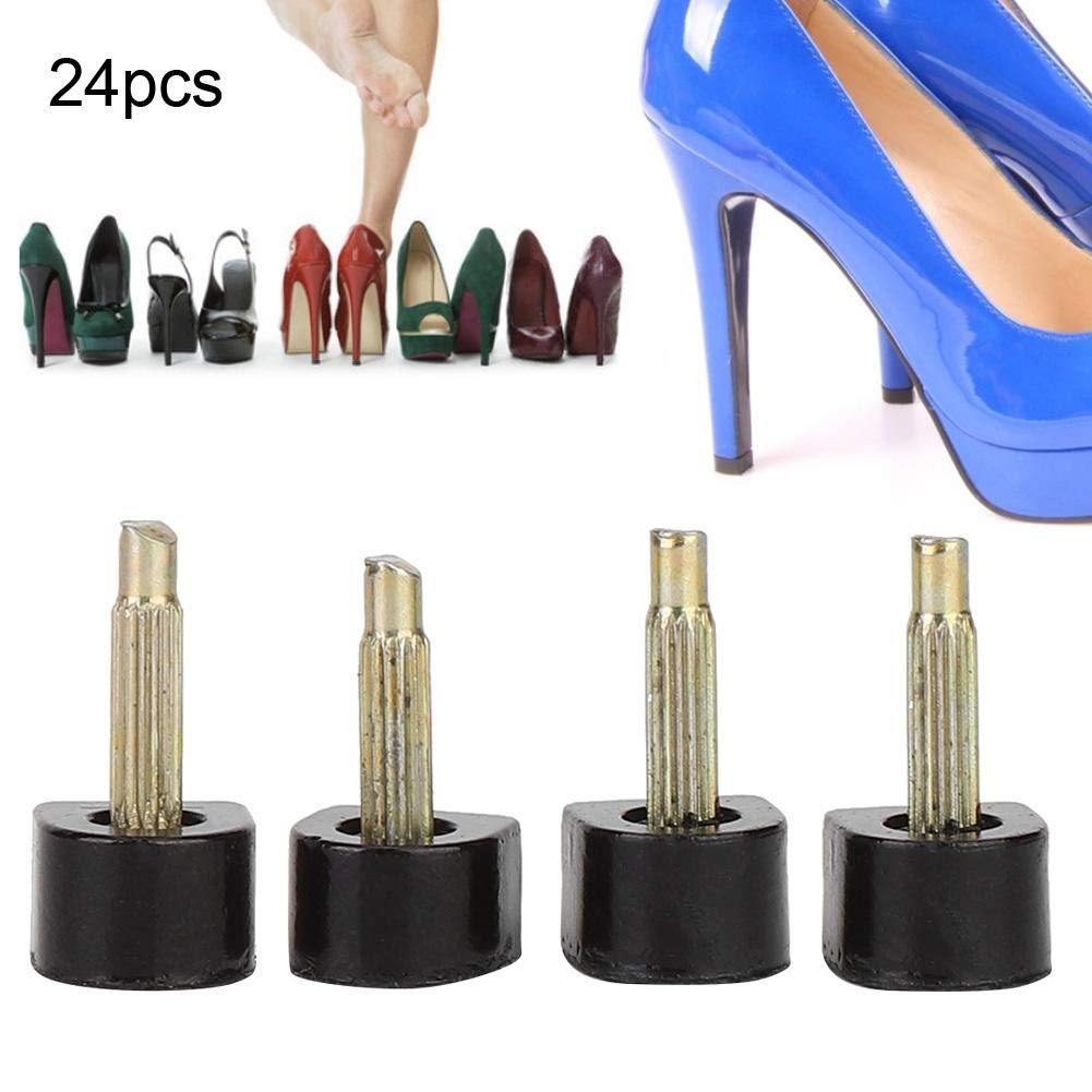 24 Piezas De Puntas De Tac/ón Alto Reemplazo De Clavijas Zapatos Tap Cap Repair Tool Kit 12X12mm Puntas De Tac/ón