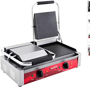 "Avantco P85S Double Commercial Panini Sandwich Grill with Smooth Plates - 18 3/16"" x 9 1/16"" Cooking Surface - 120V, 3500W"
