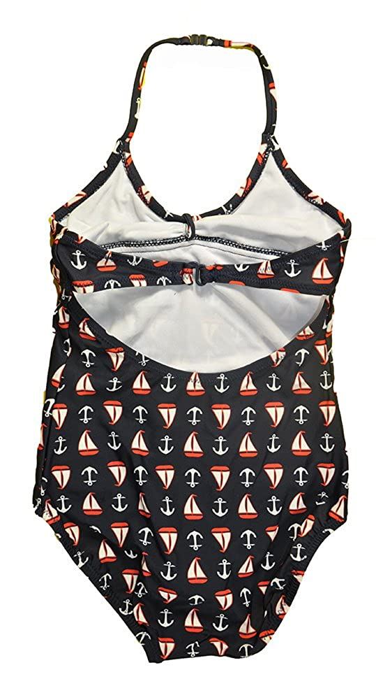 OshKosh BGosh Big Girls Navy Sailboat Print One Piece Swim Suit