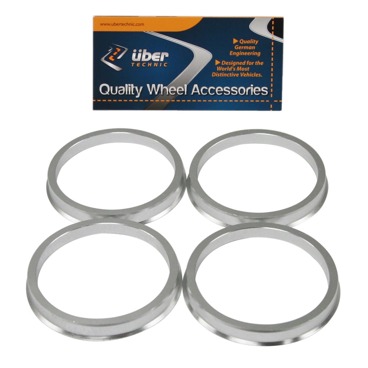 UberTechnic Hubcentric Rings - 57.1mm ID to 72.6mm OD - Billet Aluminum Hubrings - Only Fits 57.1mm Vehicle Hub & 72.6mm Wheel Centerbore - Hub Centric Centering Rings (Pack of 4)