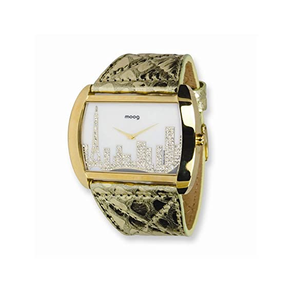 Moog Fashionista Skyline Caja Oro IP Cuero / Oro Reloj con correa - Moog Fashionista Skyline IP Gold Case/Gold Leather Strap Watch: Amazon.es: Relojes