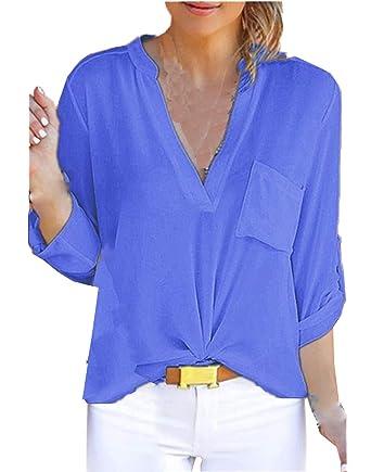 Primavera Otoño Mujeres Blusa Elegante Moda Cuello V Camisas de ...