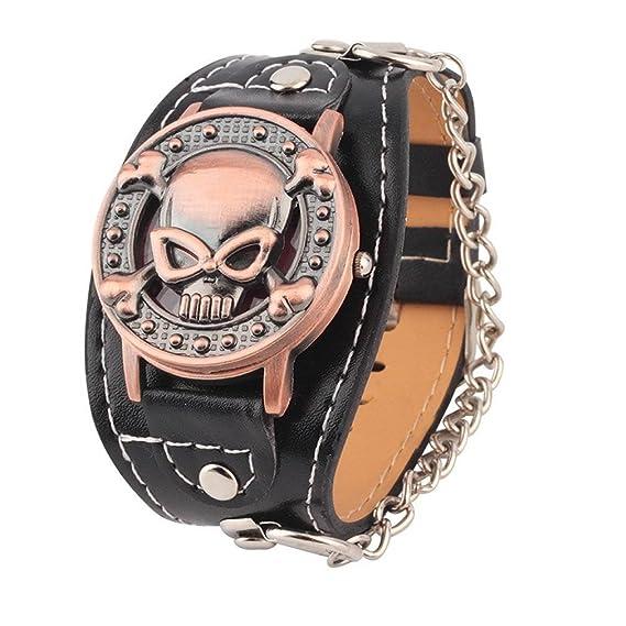 Reloj de pulsera para hombre con cadena de calavera de metal y correa de cuero