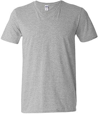 5c4b55024089 Gildan Adult Softstyle Cotton V-Neck T-Shirt, Sport Grey at Amazon Men's  Clothing store: