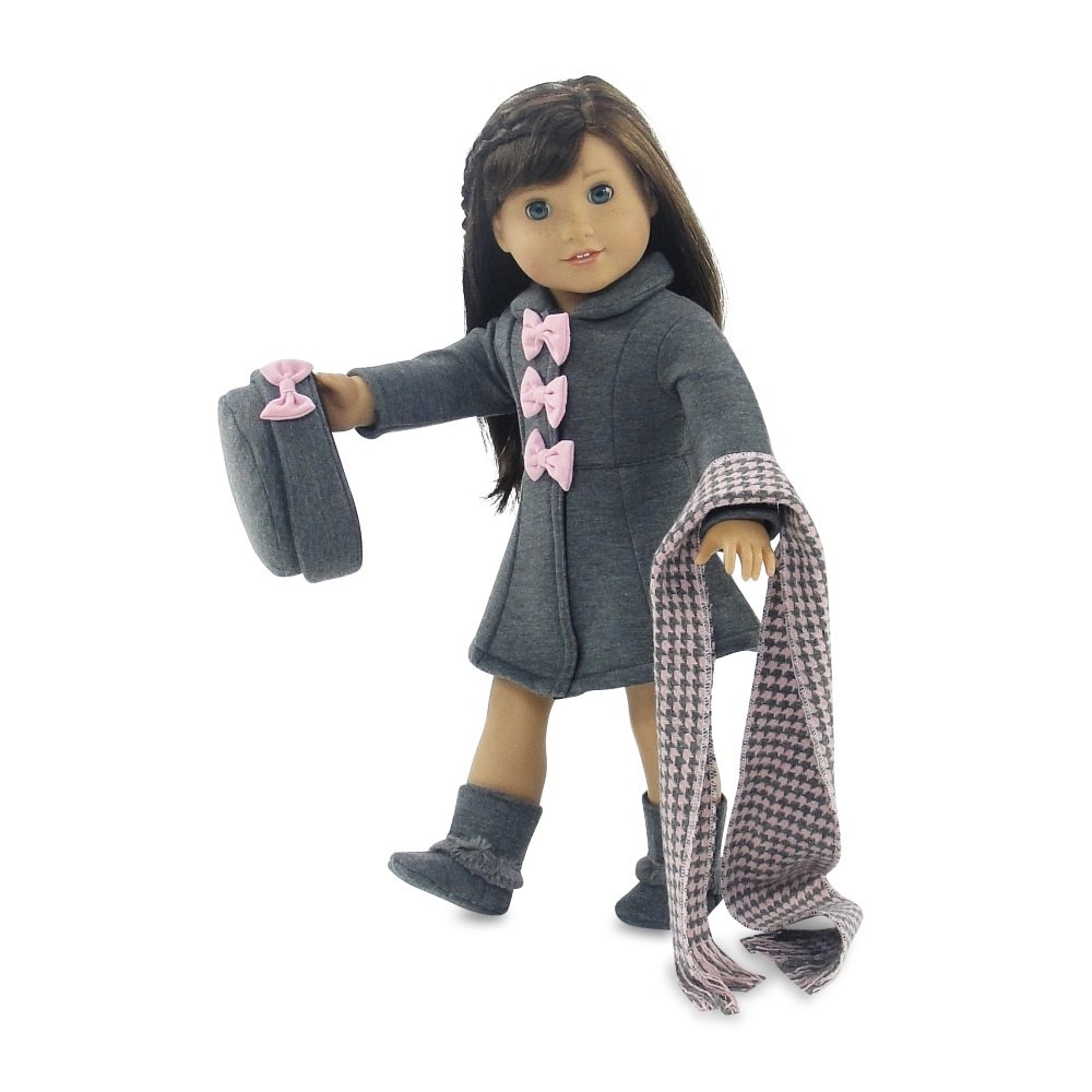 Lovely Grey and Pink Coat Outfit Includes Incredible Matching Hat and Boots and Perfect Hounds Tooth Scarf Fits American Girl Dolls Emily Rose Doll Clothes 18 Inch Doll Clothes