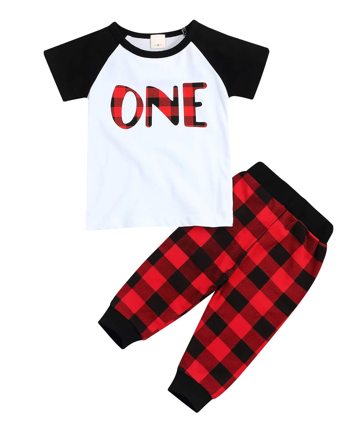 Younger star Babys 1st Birthday Outfits Long Sleeve T-Shirt with Red Plaid Pant and Hat (White B, 12-18 Months)