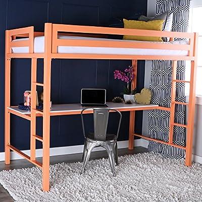 WE Furniture Murdock Metal Loft Bed with Desk, Twin, Mint