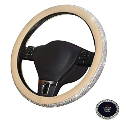 BLVD-LPF OBEY YOUR LUXURY Steering Wheel Cover | Universal Crystal Bling Ring for Auto Start Engine Ignition Button Key | Made of Pu Leather Beige Color: Automotive