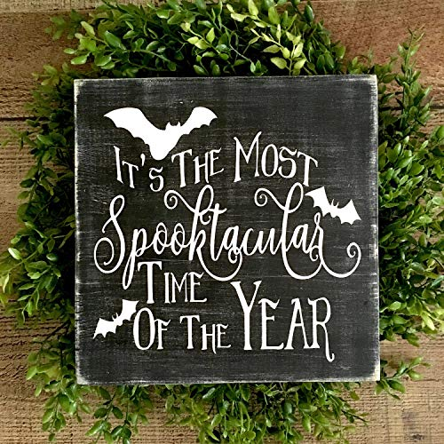 Susie85Electra Halloween Decorationspooky Halloween Signsmost Spooktacular Time of The Yearsigns for Halloweenbat Decorationshalloween Wood Signs -
