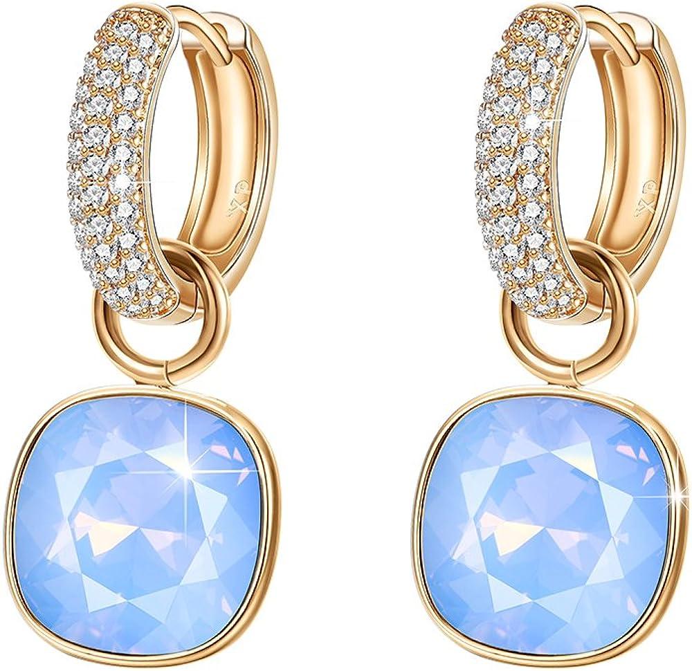 Women Fashion Sparkly Zircon Rose Gold Hypoallergenic Drop Earrings Gift LA
