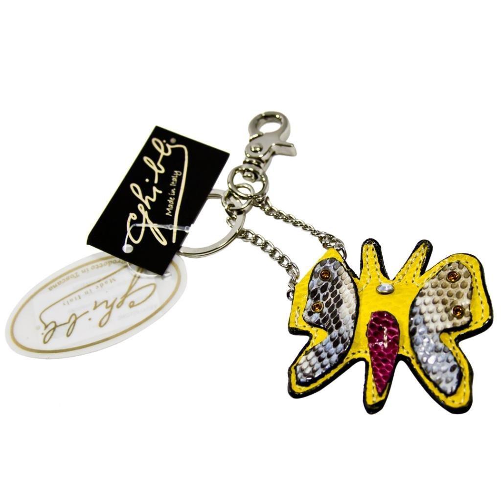 Ghibli designer イタリアの黄色、青パイソン革蝶スワロフスキーキーホルダー   B00E1MAYR2