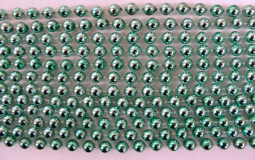 33 inch 7mm Round Metallic Light Green Mardi Gras Beads - 6 Dozen (72 necklaces)