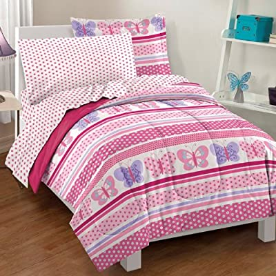 Dream Factory Butterfly Dots Ultra Soft Microfiber Girls Comforter Set, Pink, Twin: Home & Kitchen