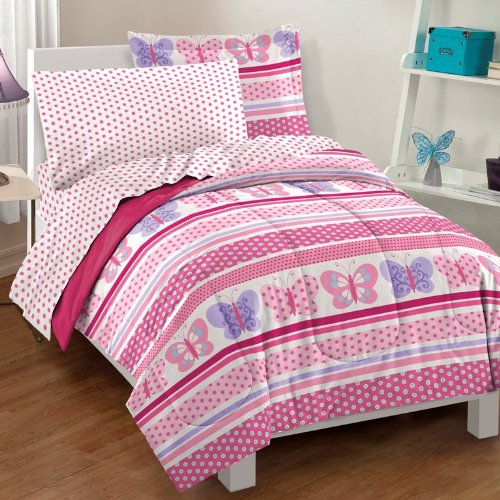 Dream Factory Butterfly Dots Ultra Soft Microfiber Girls Comforter Set, Pink, Twin