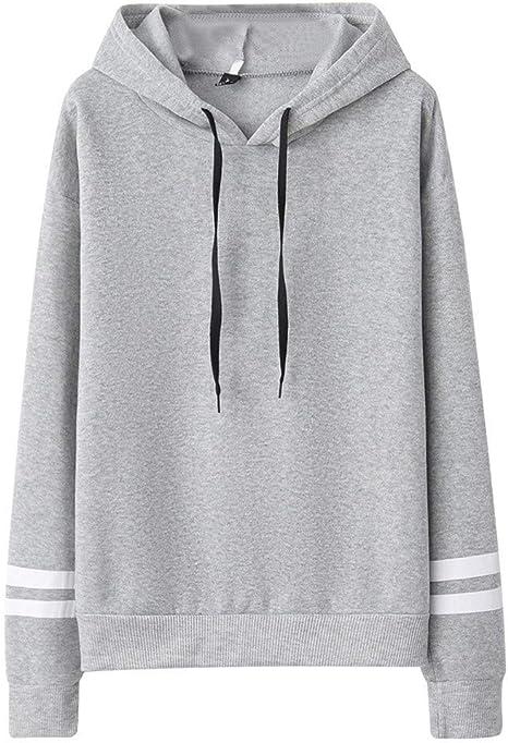 Blouses for Women,Fashion Women Casual Loose Long Sleeve Hoodie Striped Print Sweatshirt Tops