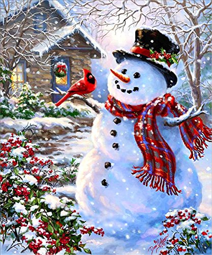 (5D Diamond Painting Kit DIY Rhinestone Embroidery Cross Stitch Arts Craft for Home Wall Decor Snowman 12x16 inch)