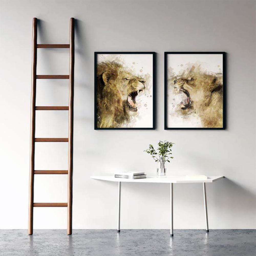 Swallow Imprimer Lion et Lionne Peinture Toile Affiche Nursery Animal Mur Art Salon D/écoration Photo-50x70cmx2 pcs sans Cadre