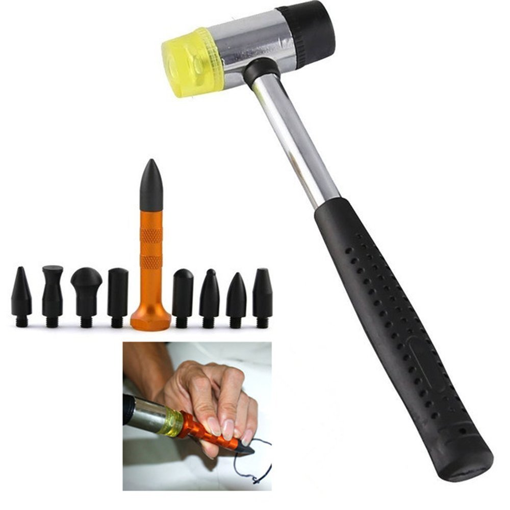 Fireangels PDR outils 10 pcs Paintless dent kit de ré paration en caoutchouc Marteau robinet Down outils Hail dé bosseler pour auto Porte pour ré frigé rateur dent ré paration
