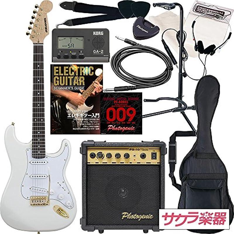 SELDER 셀 다《―》 전기 기타 스트라토 캐스터 타입 사쿠라 악기 오리지날 STG-18/WH 초심자 입문13점 세트