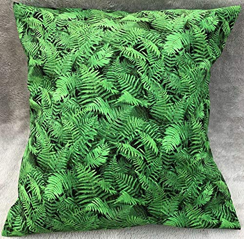 Fern Slipcover - Green Leaf Fern Plant Leaves 18x18 Pillow Cover Botanical Nature Forest Sofa Accent Pillow Sham Farmhouse Pillow Cover, Handcrafted Pillow Cover
