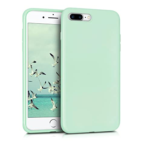 kwmobile Funda compatible con Apple iPhone 7 Plus / 8 Plus - Carcasa de TPU silicona - Protector trasero en menta mate