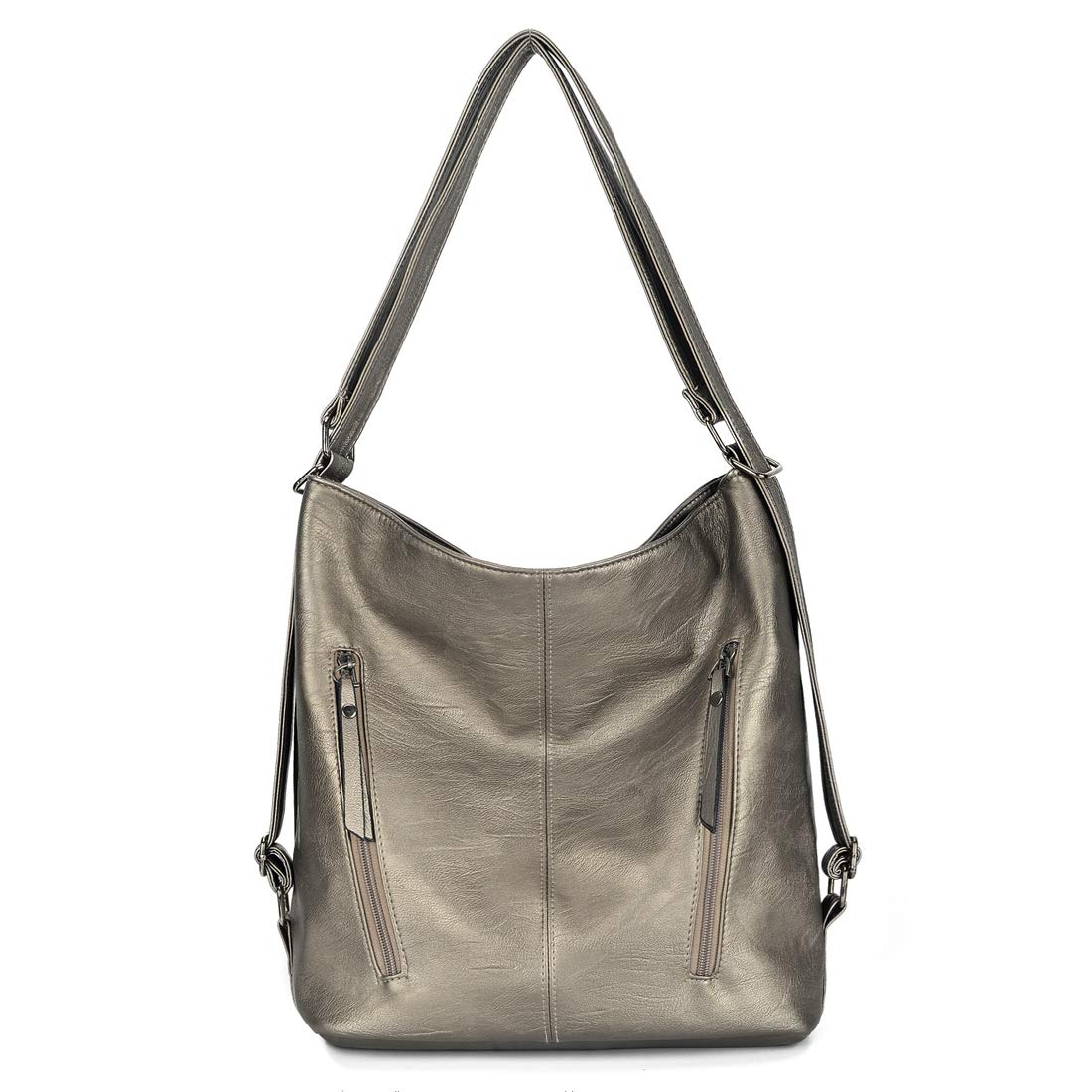 Artwell Women Shoulder Bag Convertible Backpack Purse PU Leather Hobo Style Handbag Totes (Bronze)