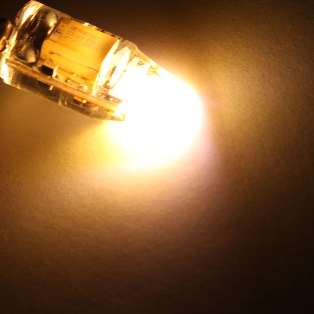 uxcell G4 Base LED Bulb 2W DC12-24V COB Energy Saving Silicone Corn Light Bulb Dimable Warm White 5Pcs