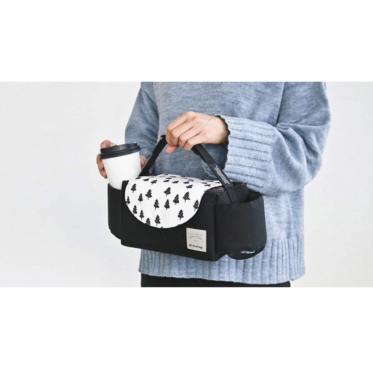bolsa para cochecito Stroller Organizador para cartera pa/ñales Bolsa para cochecito bebidas juguetes y alimentos negro Rosa