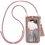 """Cell Phone Lanyard, Crossbody Leather Phone Purse with Card Holder for 4.7-6.5""""(Size L)"""