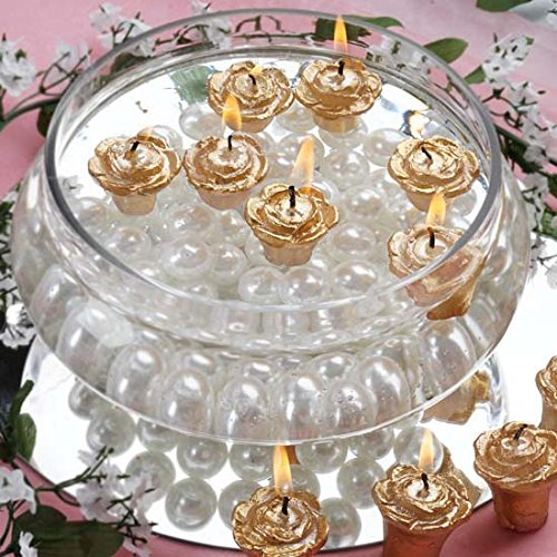 Efavormart Set of 12 Gold Mini Floating Rose Candle Ideal for Aromatherapy Weddings Party Favors Home Decoration Supplies