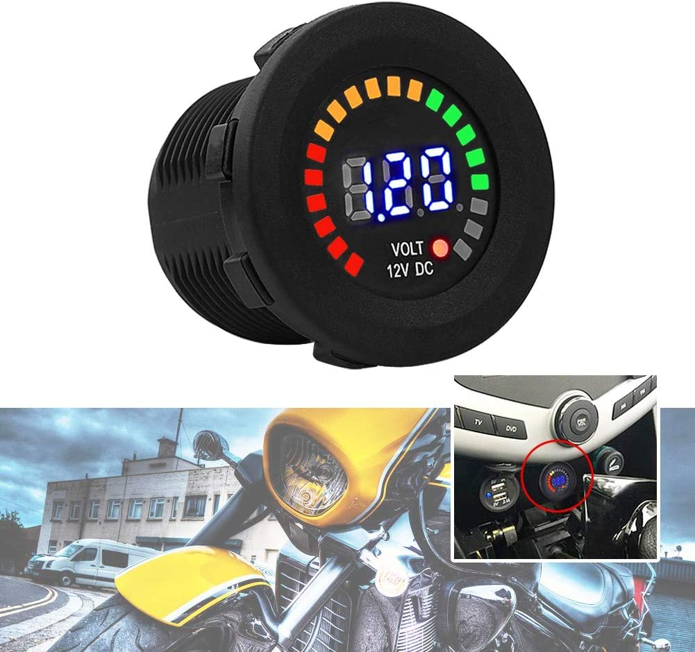Fydun Digital Display Voltmeter DC Color 12 V Motorcycle Car LED Digital Display Voltmeter Waterproof Volt Meter Gauge Black New for Car Motorcycle Truck Boat Marine