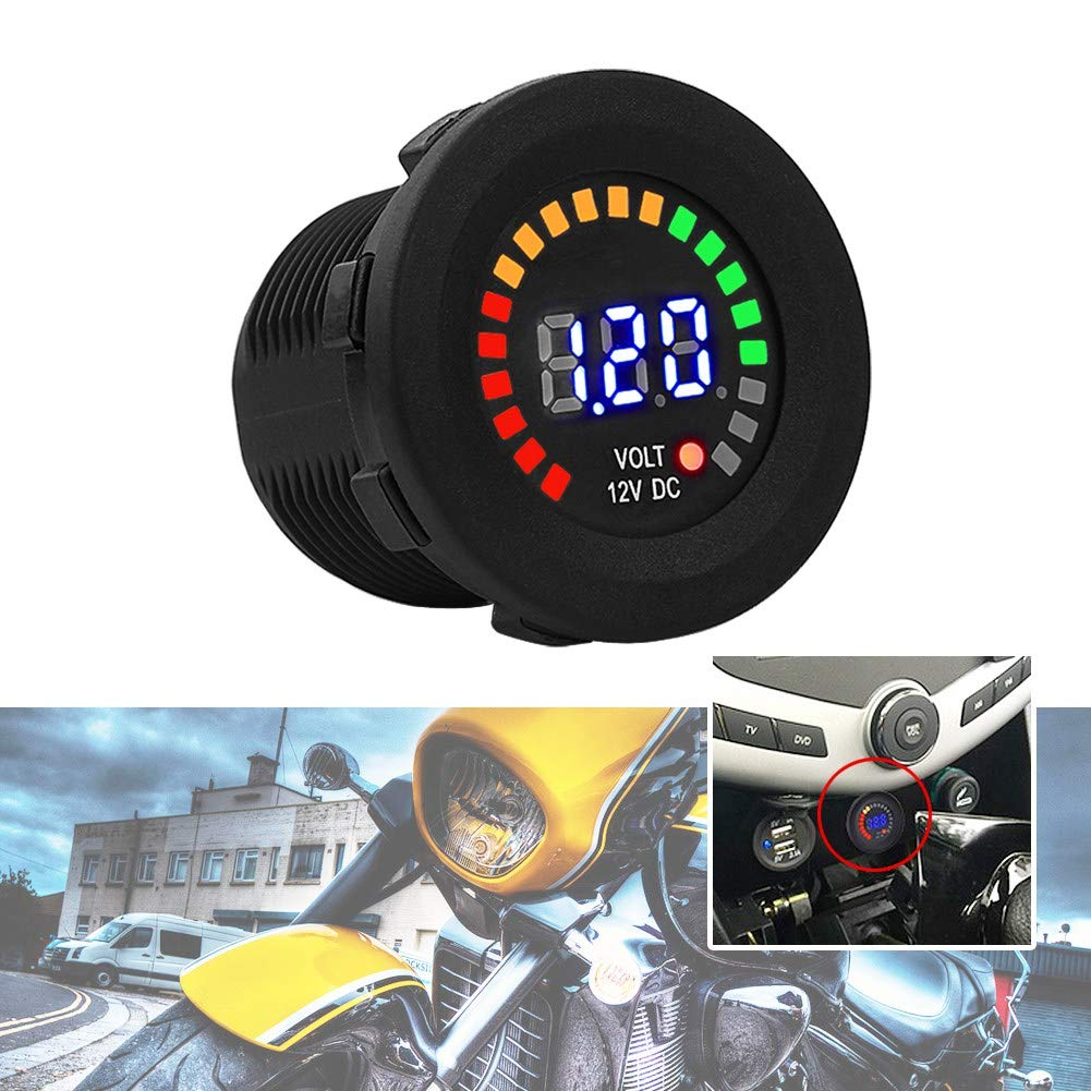 Fealay Motorcycle Tachometer Meter Gauge 12 V Led Digital Display Voltmeter Waterproof Voltage Volt Meter Gauge Black New