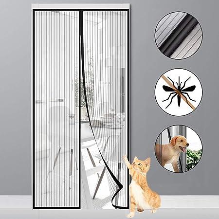 MODKOY Mosquitera Puerta Magnetica 70x210cm, Cortina Mosquitera para Puertas, Adsorción magnética Plegable Circulacion de Aire Puertas/para Pasillos - Negro: Amazon.es: Hogar