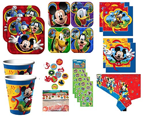 Mickey Mouse Birthday Party Supplies Deluxe Bundle Set includes Lunch & Dessert Plates, Beverage & Lunch Napkins, Cups, Table Cover, Confetti, Stickers